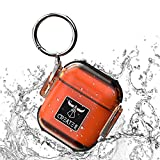 Drop Protected Airpods Case,Airpod Case Waterproof Up to 3 Feet,PC+TPU Material Compatible Wireless Charging Case for Airpods 2 & 1,Keychain Included(Transparent Orange&Black)