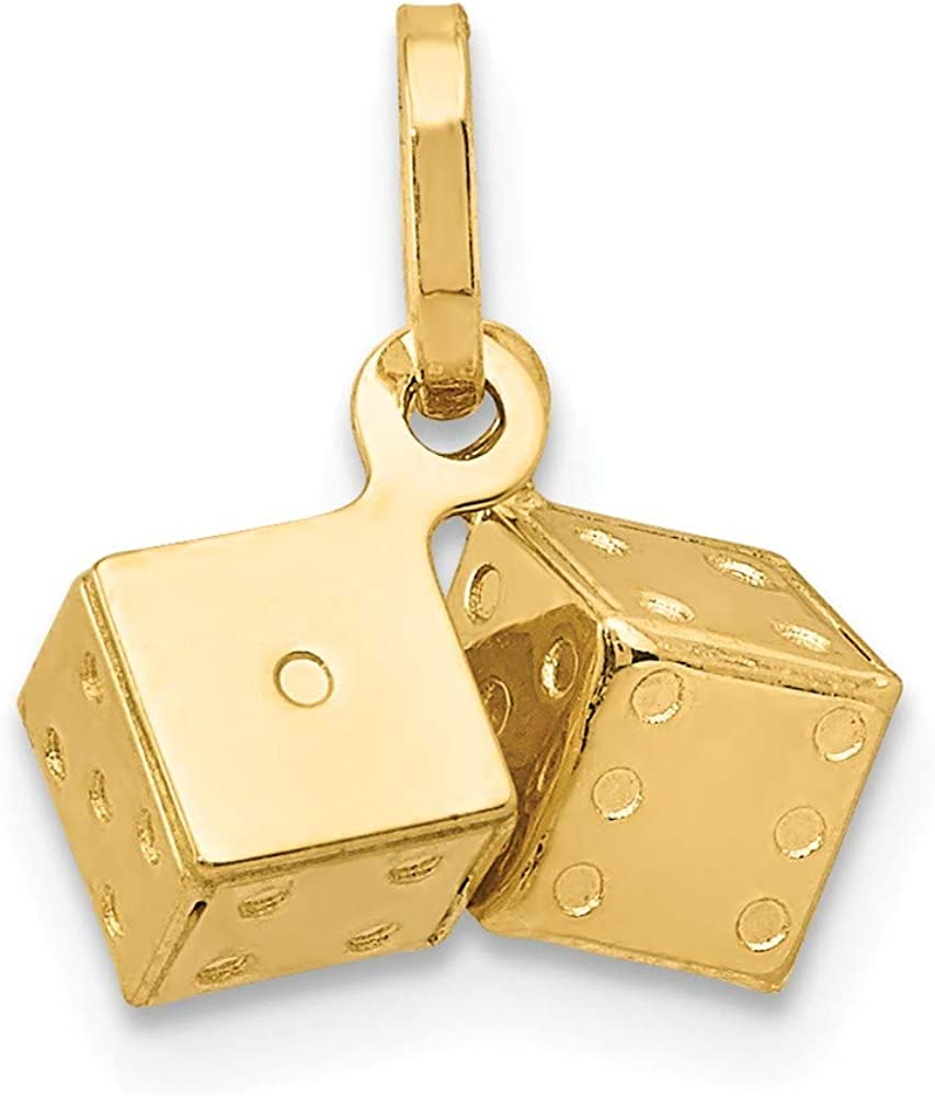 Solid 14k Yellow Gold Dice Pendant Charm (11mm x 11mm)