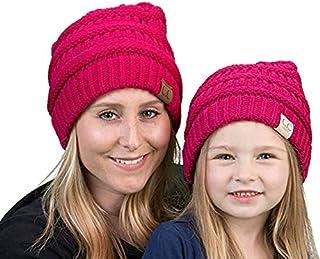 Mother/Daughter Winter Hat Bundle - Hot Pink