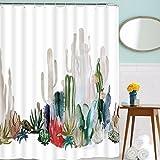 Elloevn Kaktus Duschvorhänge, Antischimmel Pflanzen Badewanne Duschvorhang, Abwaschbar Polyester Textil Duschvorhang mit 12 Haken für Kinder, 175x178 cm