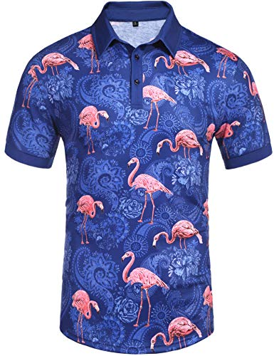 Daupanzees Men's Short Sleeve Polo Shirt Paisley Hipster Expensive Slim Fit Stylish Floral Printed Casual Polo T Shirt(Blue L)