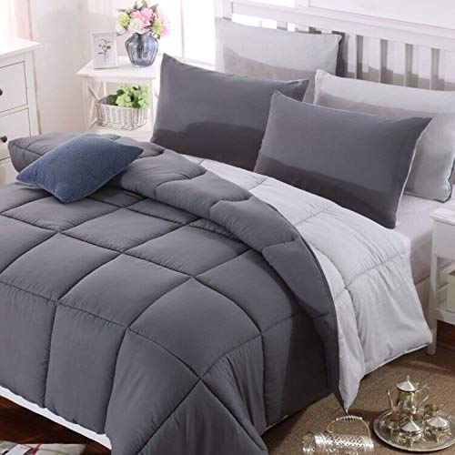 AYSW Duvet Single Comforter Warm and Anti Allergy All Season Dark Grey and Light Grey NO Pillowcases Only Quilt 10.5 Tog Duvet