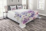ABAKUHAUS Lavendel Tagesdecke Set, Rosa Lila Blumen, Set mit Kissenbezügen Mit Digitaldruck, für Doppelbetten 220 x 220 cm, Violett rosa weiß