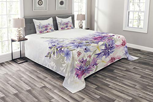 Ambesonne Lavender Bedspread, Pastel Cornflowers Bridal Classic Blooms Gentle Floral Wedding Design Print, Decorative Quilted 3 Piece Coverlet Set with 2 Pillow Shams, King Size, Violet Pink White
