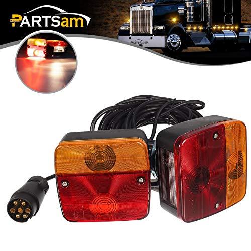 PARTSAM 2x luces traseras de remolque con cable magnético, placa de 12 V, indicador de parada de...