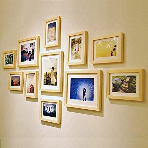 Afbeelding lijst Europese massief houten fotowand woonkamer slaapkamer eetkamer achtergrond muur, combinatie wand hangen fotolijst 100 * 240cm muur decoratie