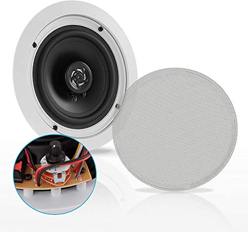 """Ceiling and Wall Mount Speaker - 6.5"""" 2-Way 70V Audio Stereo Sound Subwoofer Sound with Dome Tweeter, 500 Watts, in-Wall & in-Ceiling Flush Design for Home Surround System -   (White) - Pyle PDIC63T"""