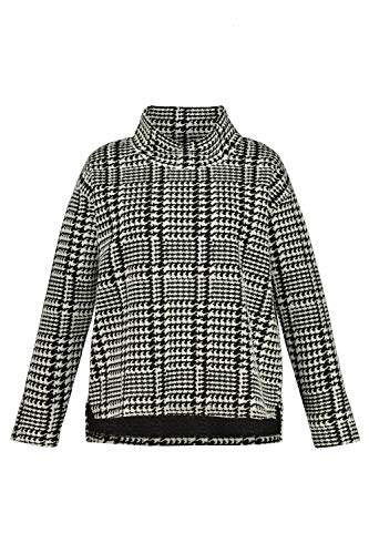 Ulla Popken Sweatshirt mit Hahnentritt-Jacquard Sudadera, Negro (Schwarz 75113610), 48 Grande para Mujer
