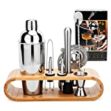 Hochwertiges Cocktailshaker Set, Cocktailmixer Set, 10 Teileig, aus Edelstahl, mit Bambus-Aufbewahrung, inkl. Cocktail-Shaker, Messbecher, Ausgießer, Bar Stößel, Bar Löffel, Eiszange, Öffner, Barmaß - 8