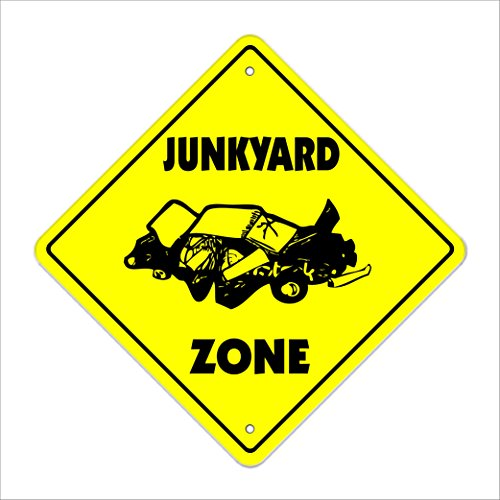 "Junkyard Crossing Sign Zone Xing | Indoor/Outdoor | 12"" Tall Junk Yard Cars Truck Sanford Parts"