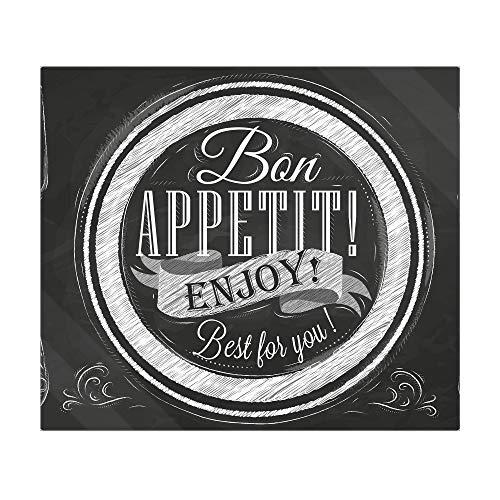 banjado Herdabdeckplatte aus Glas   Herdabdeckung einteilig 60x52cm   Spritzschutz für Ceranfeld oder Induktionsherd   Schneidebrett perfekt für die Küche mit Motiv Bon Appetit