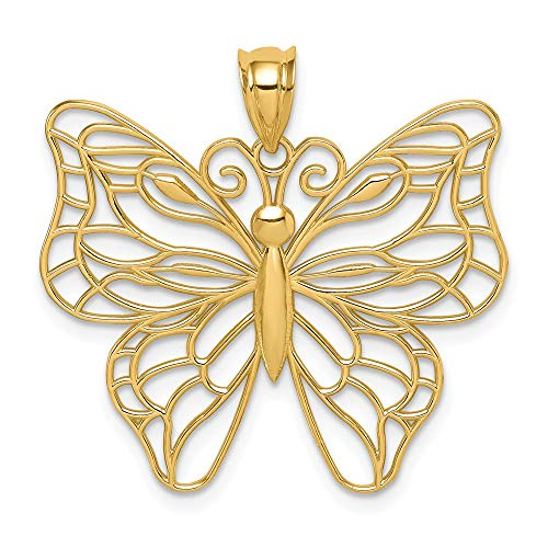 14k Yellow Gold Large Butterfly Pendant Charm Necklace Animal Fine Jewelry For Women Gifts For Her