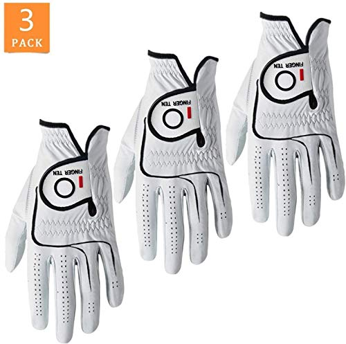 FINGER TEN Men Golf Gloves Cabretta Leather Value 3 Pack, Left Right...