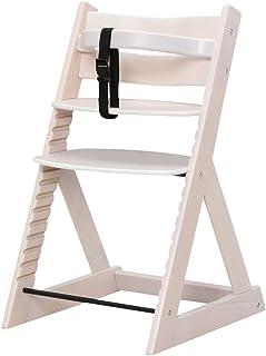 ベビーチェア 木製椅子 ハイチェア 14段階調節可能 安全ベルト付き 幅45×奥行50.5×高さ78cm ホワイトウォッシュ
