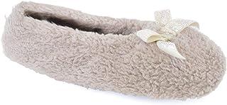 Ks Ladies Basic - Pantofole da balletto, in morbido pile corallo, con fiocco glitterato, 3 colori