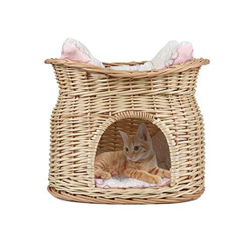 LOSY PET Cama de Mimbre para Gatos Cesta de 2 Niveles para Mascotas Perros Gatos con 2 Cojines Suaves Color Beige