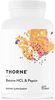 Thorne Research - Betaine HCL & Pepsin - Digestive Enzymes for Protein Breakdown and Absorption - 225 Capsules