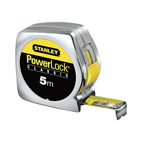 Stanley 0-33-194 Flessometro Powerlock, 5 m x 19 mm, Con Foro
