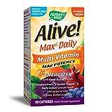 Nature's Way Alive! Premium Max6 Daily Multi-Vitamin Energizer, No Added Iron, 90 Capsules