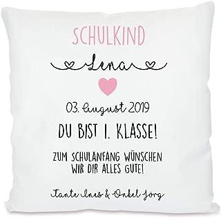Schulkind 2019 Einschulung Kissen Glückwunsch Schulanfang Zuckertüte mit Namen