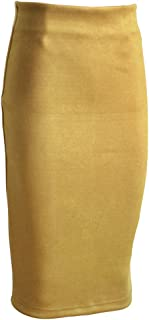 Women Suede Pencil Skirt Spring Autumn Basic High Waist Bodycon Split Knee Length Skirts