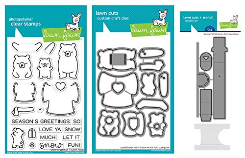 Lawn Fawn Snow Much Fun 4x6 Clear Stamps, Coordinating Die and Waving Pull Tab Starter Set (LF2411, LF2412, LF2413) Bundle of 3 Items