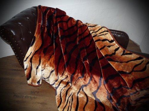 Natur-Fell-Shop Kuscheldecke Tagesdecke Decke Tiger - Erscheinungsbild 160x200cm