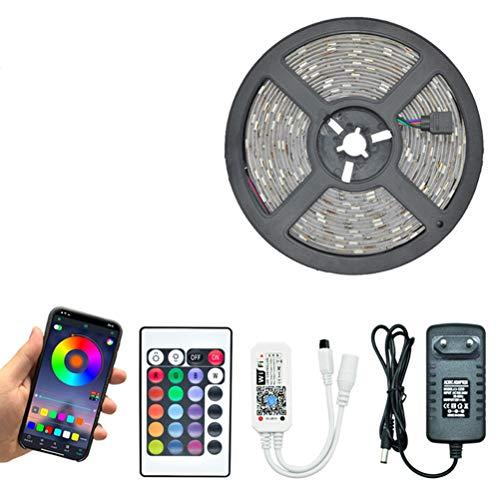 ZHUSHI Luces LED Bluetooth con 20M RGB 5050 3528 DC 12V Luces LED Impermeables 5M 10M 15M Luces de diodo con Control Remoto Flexible y Bluetooth (Color : 3528 is Not Waterproof, Size : 5m)