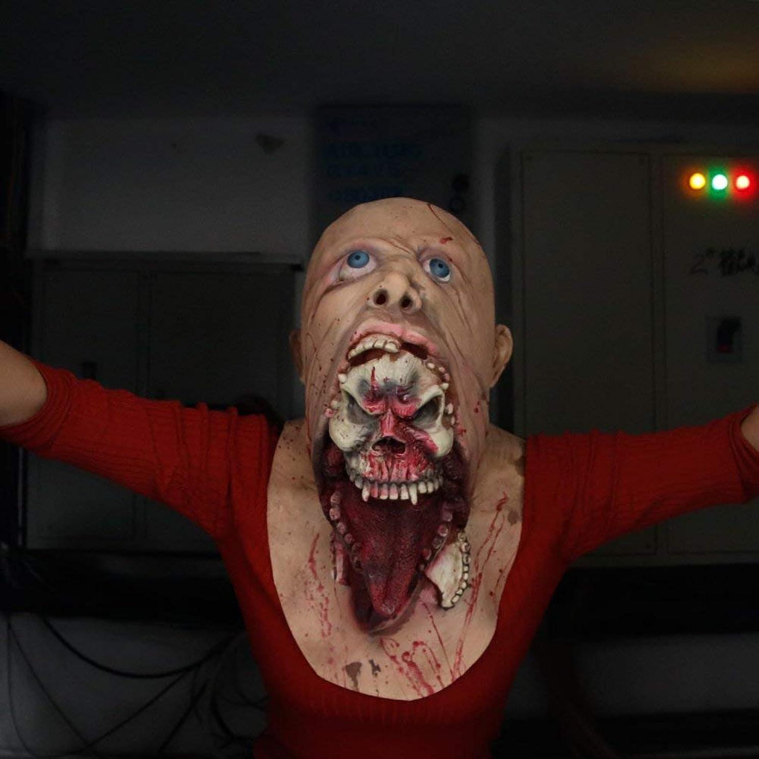 研究所ファイバ踏みつけラテックスゾンビハロウィーンマスク、怖い寄生虫マスク、怖い残酷なラテックスマスク