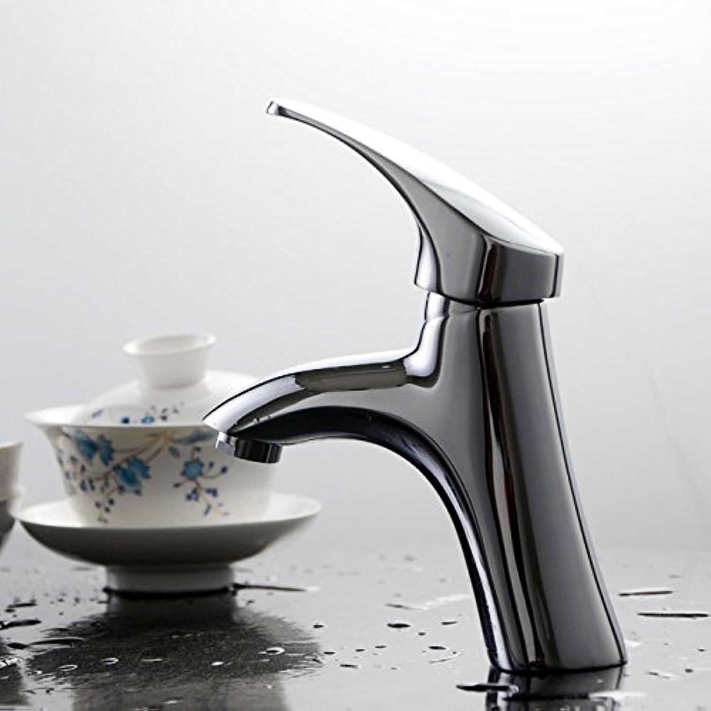 YAMEIJIA Verchromt hei und kalt Messing poliert Bad Wasserhahn Waschbecken Eitelkeit