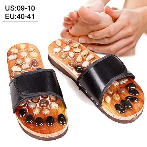 Beito 1 Paar Naturstein Massage Hausschuhe Akupressur Sandalen Indoor Massage Hausschuhe Schuhe Reflexzonenmassage Fußmassagegerät Shiatsu Bogen Schmerzlinderung (40-41)