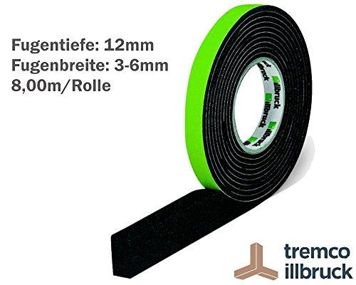 illbruck Profi Fugen Kompriband TP610 illmod eco BG1 Größe 12/3-6 Rolle 8m anthrazit