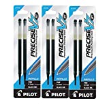 Pilot Precise V7 RT Liquid Ink Retractable Rollerball Pen Refills, 0.7mm, Fine Point, Black Ink, 3-Packs of 2