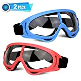 POKONBOY 2 Pack Safety Goggles, with Face Mask Bandanas Protective Motorcycle Safety Glasses Compatible with Nerf Guns for Kids (Red & Blue)