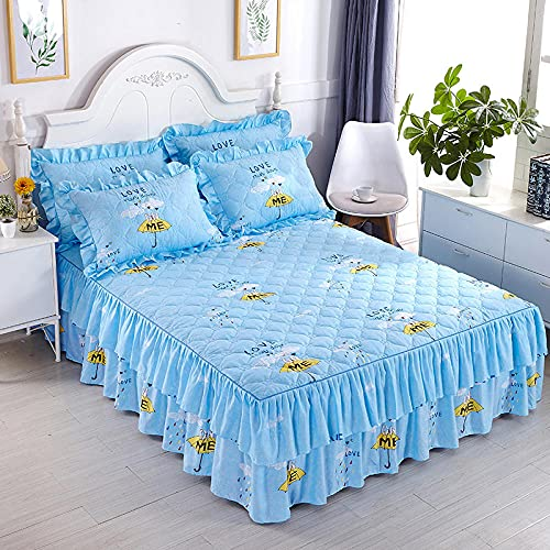 CYYyang Protector de colchón, algodón, poliéster, Hoja de Cama de Encaje de Falda de Cama gruesa-33_180 * 220cm