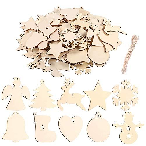 FHYT 100 Pezzi Decorazioni Albero di Natale in Legno, Ciondolo Albero di Natale per Matrimoni Decorazioni Natalizie