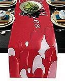 Runner da tavola in stile fattoria, buon San Valentino Decorazione a cuore rosso e rosa Sciarpe da comò in juta antiscivolo rosse per uso quotidiano Decorazioni per feste di matrimonio, 18x72 pollici