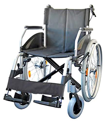 FabaCare Rollstuhl Alu Lexis Light, Leichtrollstuhl faltbar mit Trommelbremse, Steckachse, Transportrollstuhl bis 130 kg, Sitzbreite 51 cm