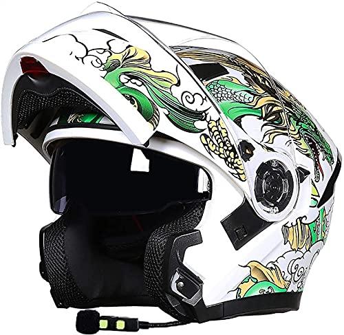 Egrus Casco de Motocicleta Bluetooth de Plegado Alto Visa Antideslizante Visa Doble Casco Completo Casco de Motocicleta Altavoz Auriculares, Manos Libres, sin Ruido ECE Probado B, L = 57-58cm