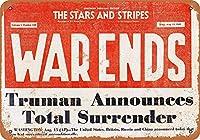 ブリキ看板ビンテージクラシックアメリカ飾り1945 VJ日星条旗フロントページグッズ壁アート