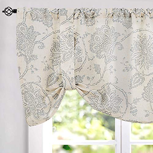 jinchan Tie-up Valance Floral Printed for Kitchen Living Room Jacobean Adjustable Window Treatmentd Rod Pocket 1 pc 20 inch Length Grey