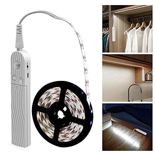 LED Under Cabinet Lighting Motion Sensor, CFGROW 10Ft Four Modes Bed Stairs Wardrobe Lamp Tape, Waterproof 5V USB LED Closet Night Strip Light (Cold White, 2Pack)