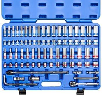 "NEIKO 02472A 3/8"" Drive Ratchet & Socket Set   76 Piece Standard & Deep   SAE 1/4  to 1""   Metric 6mm to 24mm   7"" Quick Release Ratchet Extension Bars 15"" Breaker Bar L-Handle   Cr-V Steel"