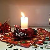 Bibivisa 3X Weihnachten Kerzenhalter, Bereift Tannenzapfen Kerzenständer Dekorativ Rote Beeren Glitzer Ball, Christmas Kerzenlicht Weihnachtskerze Stehen für Weihnachten Tischdeko Advent Deko - 2