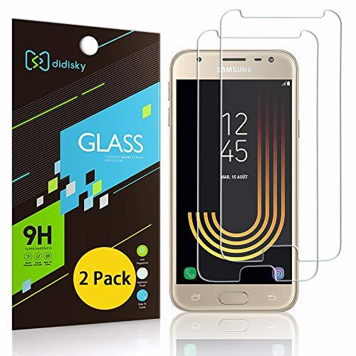 Didisky [2-Unidades Cristal Templado Protector de Pantalla para Samsung Galaxy J3 2017, Antihuellas, Sin Burbujas, Fácil de Limpiar, 9H Dureza, Fácil de Instalar, Transparente