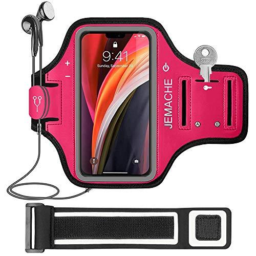 iPhone 12 Mini Running Brazalete, JEMACHE Deportivo Correr Móvil Brazo Banda Funda para iPhone 12 Mini (Rosy)