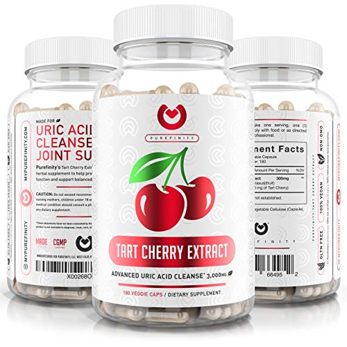 Tart Cherry Capsules - Max Strength 3000mg | 6 Month Supply - Advanced Uric Acid Cleanse, Powerful Antioixidant w/ Joint Support - 180 Vegetable Capules.