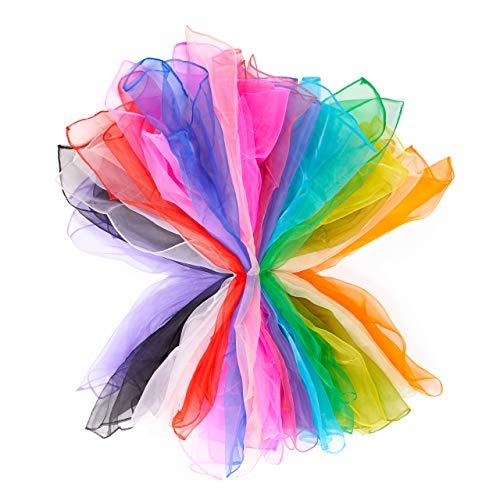 32 Bufandas de Baile | Bufandas Cuadradas para Danzas Mágicas. Bufandas para Malabares | Accesorios para Espectáculos y Actos | 24x24 en 16 colores