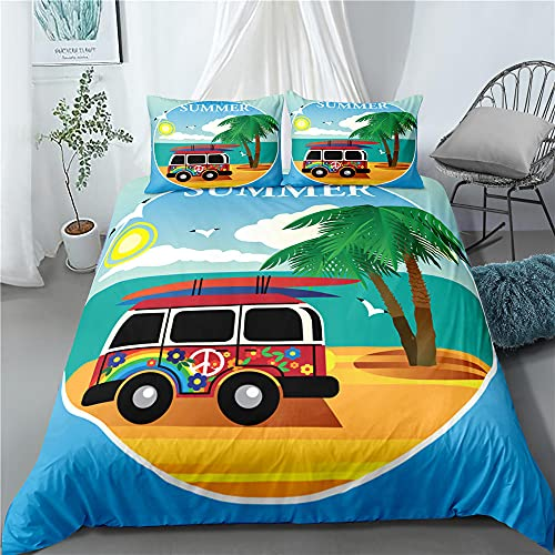 Verano playa de Surf de autobús 3 unids/set ropa de cama conjunto de habitación de los niños de la hoja de cama funda de almohada ropa de cama de la Reina Anime de dibujos animados,AU Queen(210x210)