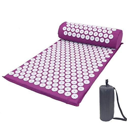 Kit de esterilla de acupresión con almohada, cojín de masaje para yoga, tratamiento alivio del dolor de espalda y cuello, 66 x 42 cm, color morado